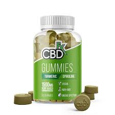 A 1500mg jar of 60 gummies by CBDFx made with CBD, turmeric and spirulina.