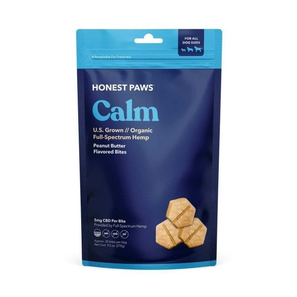 A bag of Honest Paws Calm Bites contained 30 bites at 5mg of CBD in each. peanut-butter flavored CBD treats for dogs