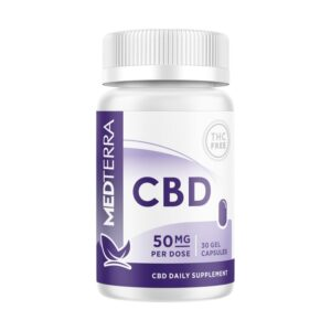 Medterra CBD Gel Capsules in a white bottle with purple labeling