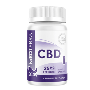 a purple and white plastic container with Medterra CBD isolate capsules - 25mg each