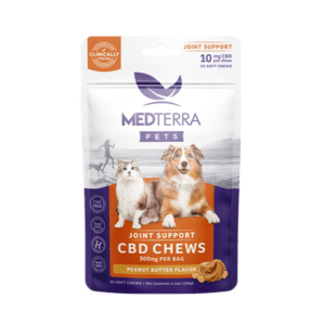 Medterra Joint Support CBD chews for dogs in a white and purple bag with orange highlights