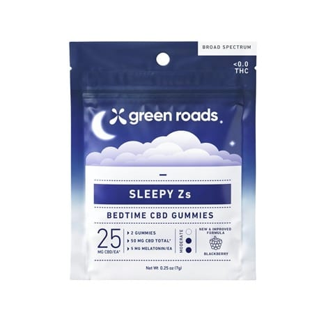 Green Roads Sleepy Z's Gummies come in a convenient 2-pack for travel.