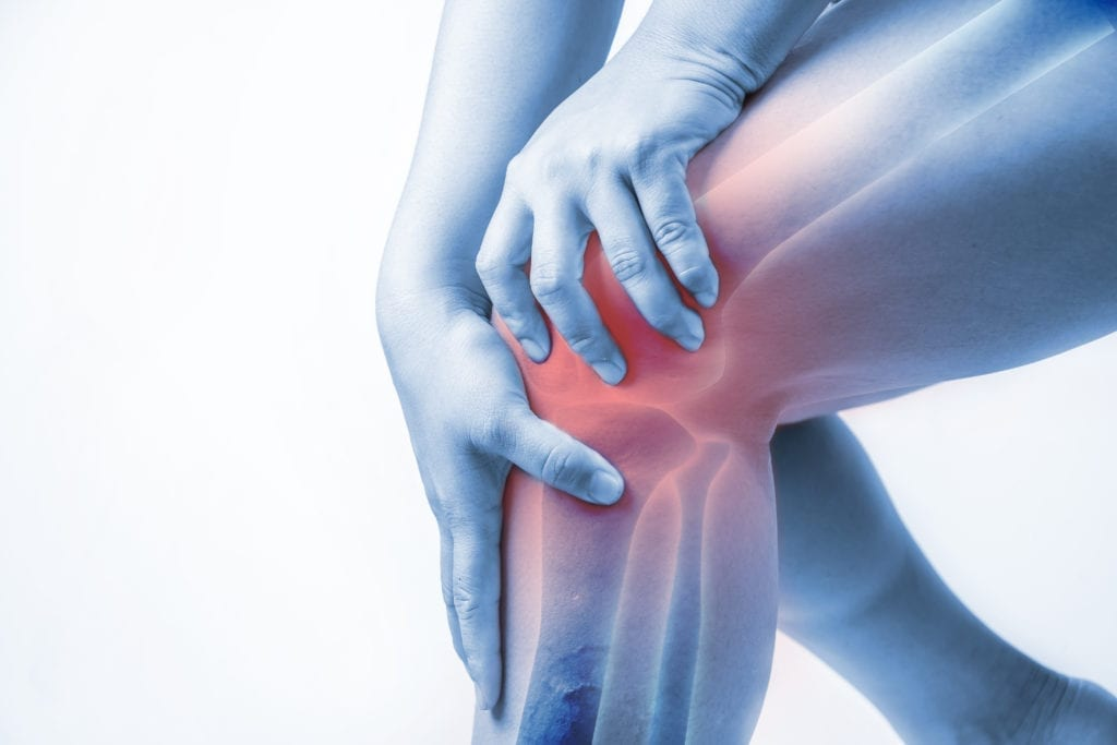 Translucent picture of a person with joint pain in their knee.