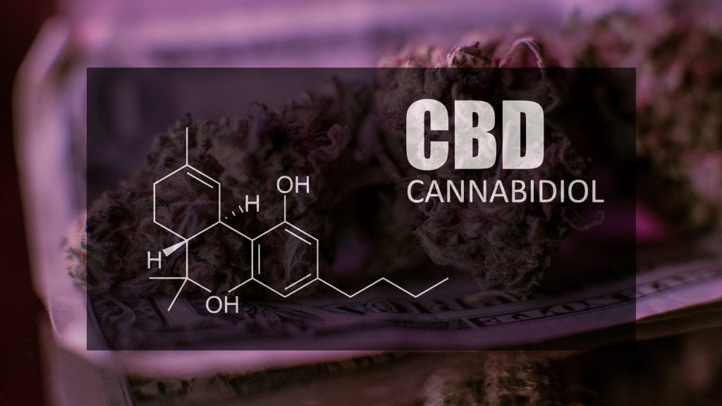 CBD Flower with a dark purple backgroung and the Chemical Formula for CBD over it.