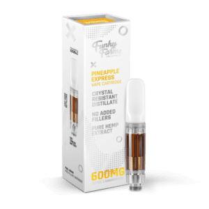 The Green Dragon CBD Offers Funky Farms Pineapple Express Cartridge 600mg. Made with 600mg Broad Spectrum Crystal Resistant Distillate and delicious, natural flavors. This one milliliter cartridge is compatible with any 510 thread battery.