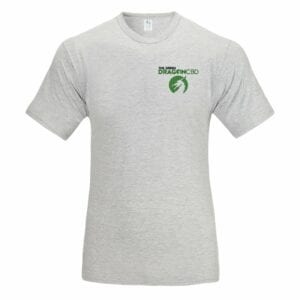 The Green Dragon CBD tee shirt with an official logo! Grey, cotton shirt with our official logo located near the left shoulder!r.