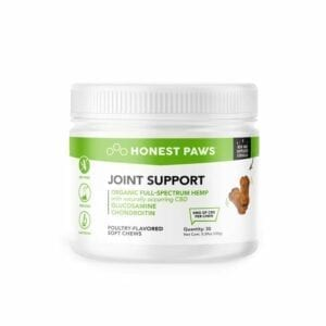 The Green Dragon CBD offers Honest Paws Joint Support Soft Chews 250mg. Their premium CBD in the form of tasty poultry-flavored, soft chews are perfect for small pups and aging dogs. There are 30 soft chews per container and each container has 250mg of full-spectrum CBD. They come in a small container with a screw-on top for freshness!