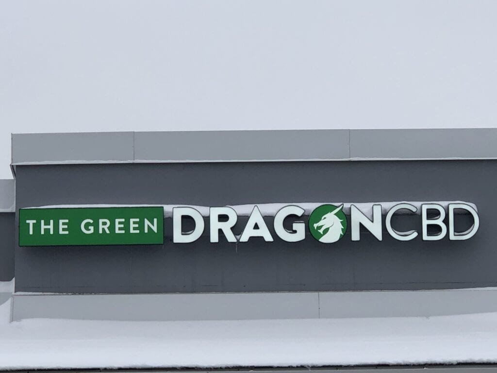 Picture of The Green Dragon CBD's sign at Chesterfield, MO location.