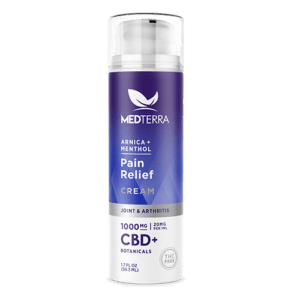 a white bottle of medterra cbd pain cream with purple and blue labeling - 1000mg strength