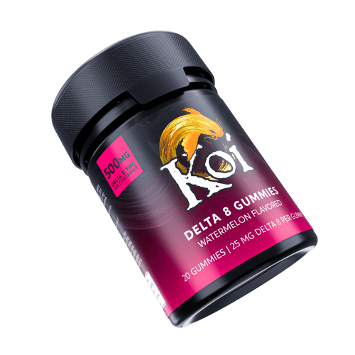 Koi Delta 8 THC Watermelon Gummies are 25mg each and are in a black plastic safety container.