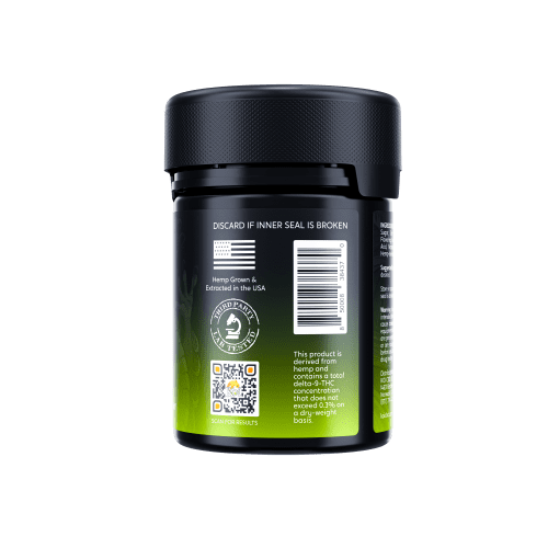 Koi Delta 8 THC Gummies 500mg come in a black plastic safety container with a bright green label.
