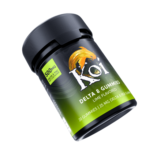 Koi Delta 8 THC Lime Gummies in a black safety container.