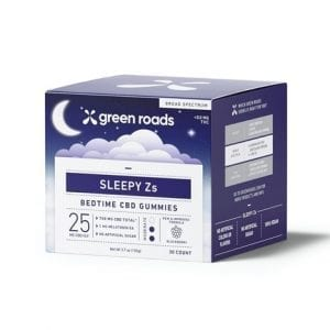 CBD Sleepy Z's Gummies box has a container with 30 gummies with 25mg of CBD and 5mg of melatonin in each.