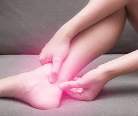 Tendonitis, or inflammation of your tendons, is shown here using pain in the ankle as an example.