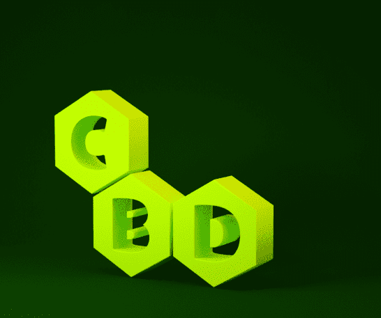 the three CBD letters in green hexagons showing the CBD compound