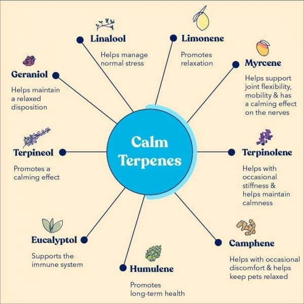 "A chart with a blue circle in the center saying ""Calm Terpenes"" and the 9 calming terpenes in a spoke around it. These are found in the Honest Paws Peanut Butter."