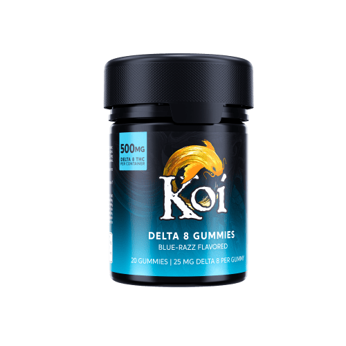 Koi Delta 8 THC Gummies 500mg come in a black plastic safety container with a bright blue label.
