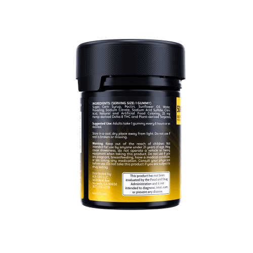 Koi Delta 8 THC Gummies 500mg come in a black plastic safety container with a bright yellow label.