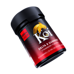 Koi Delta 8 THC Strawberry Gummies in a black plastic container.