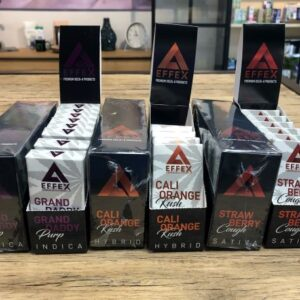 3 packs of 10-packs next to each other of the Delta Effex Delta 8 vape cartds