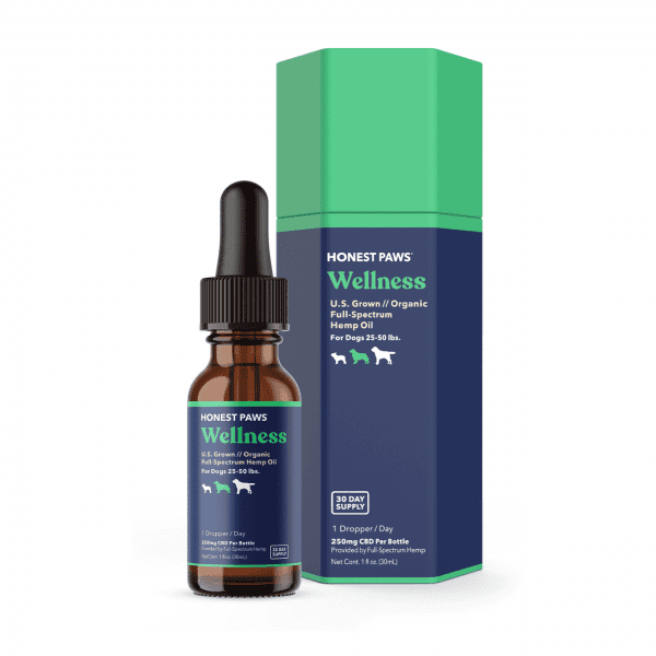 A 30ml tinted bottle and package of the Honest Paws CBD Oil for Medium Dogs.