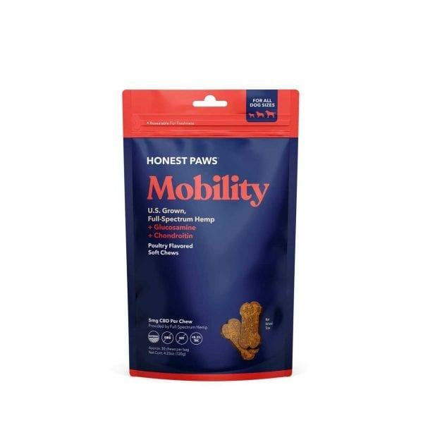 A blue bag with red trim of the Honest Paws Mobility Soft Chews