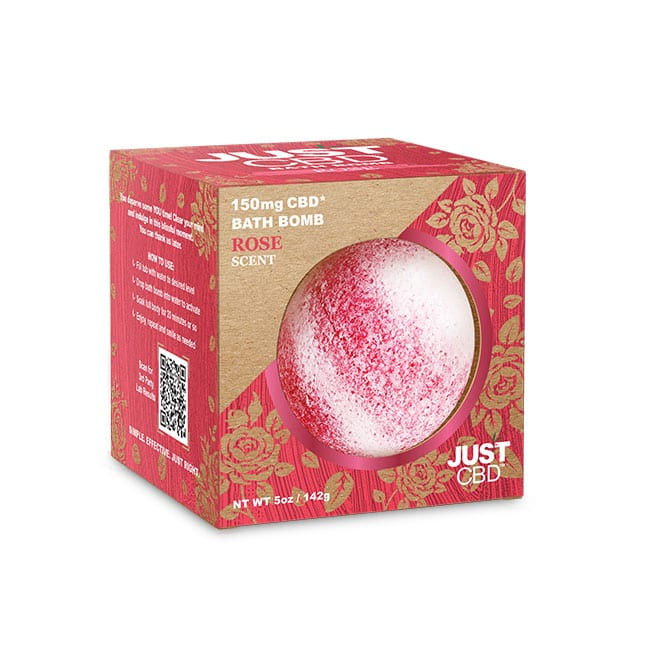 A rose scented CBD bath bomb in a pink and brown cardboard box.
