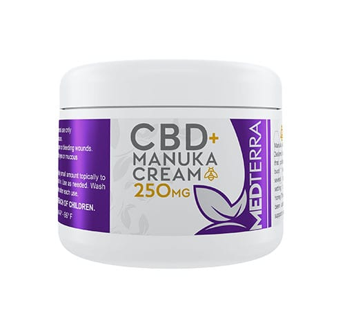 The 250mg jar of CBD + Manuka cream is white with a purple label, with the Medterra CBD branding for its 250mg jar.