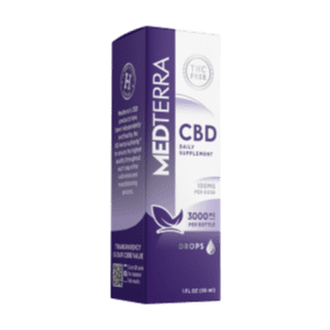 tall box with purple highlights with medterra 3000mg CBD isolate in a 30ml bottle