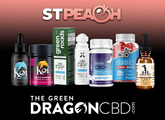 a picture of several CBD products against a peach and black background and the logos of STPeach and The Green Dragon CBD