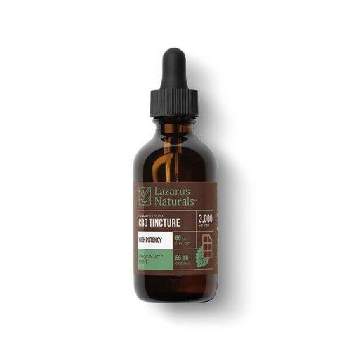 Lazarus Naturals High Potency Full Spectrum Chocolate Mint Tincture 3000mg CBD oil comes in an amber tinted 60mg bottle with a black graduated eyedropper cap.