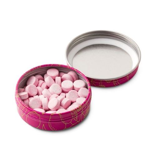 open tin of Lazarus Naturals CBD fruit tarts in the flavor Raspberry Lime. Pink tarts
