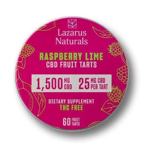 one tin of Lazarus Naturals 1500 milligram CBD tarts in the raspberry lime flavor. THC free dietary supplement including 60 tarts at 25 milligrams each