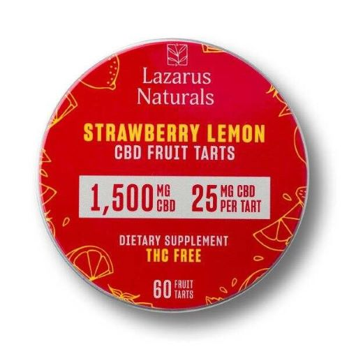 Lazarus Naturals CBD Fruit Tarts in 1500mg strength and Strawberry lemon flavor