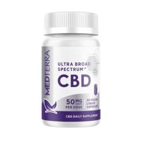A white jar of Ultra Broad Spectrum CBD capsules from Medterra with 50mg per dose with purple labeling