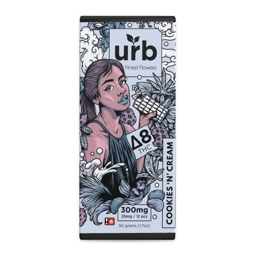 Urb Delta 8 Chocolate Bar in a black and white package designed for the Cookies 'N' Cream variety.