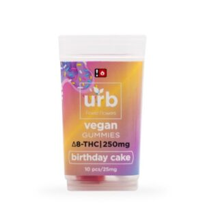 a plastic container of Urb Delta 8 Gummies in Birthday cake flavor
