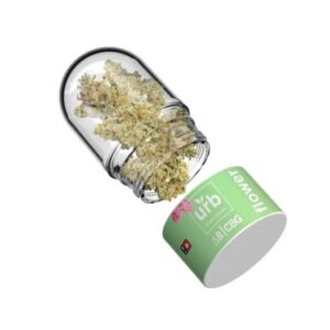 A glass bulb container with CBG and Delta 8 flower from URB