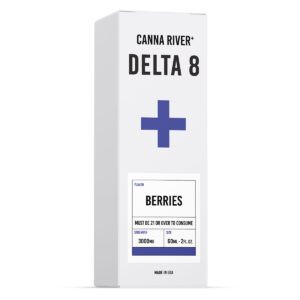 White and blue box of Canna River Delta 8 Tincture in Berries flavor, 3000mg strength