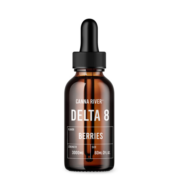Brown 60ml bottle of Canna River Delta 8 Tincture in berries flavor with black dropper at 3000mg strength.