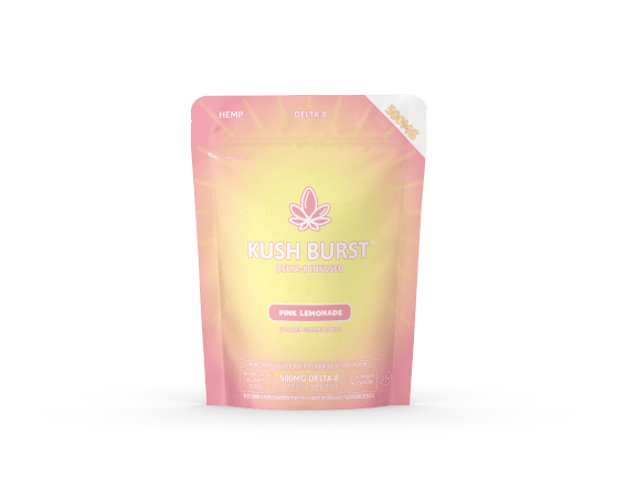 a package of gummies in a pink and yellow pouch containing Kush Burst Pink Lemonade Delta 8 Gummies
