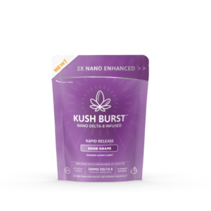 kush burst nano delta 8 infused gummies in a bright purple package of 6 sour grape gummies