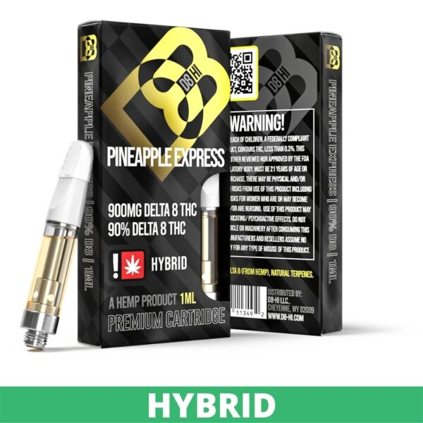 A yellow and black box of D8-HI delta 8 pineapple express strain with 900mg Delta 8 THC, 90% delta 8 THC in hybrid strain.