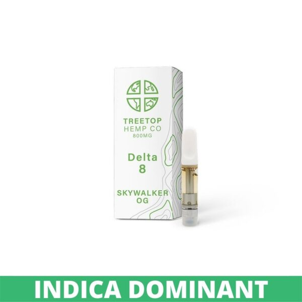 A Treetop Hemp Co Delta 8 vape cart box next to the cart. The box is white with colored lettering.