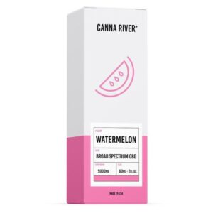 White and Pink box of Canna River Watermelon Broad Spectrum CBD Oil, 5000mg.