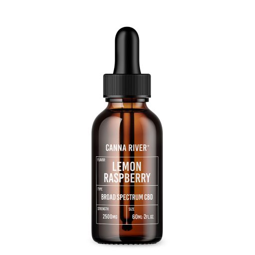 Brown 60ml bottle of Canna River Lemon Raspberry Broad Spectrum CBD oil with black dropper at 2500mg strength.