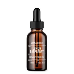 Brown 60ml bottle of Canna River Lemon Raspberry Broad Spectrum CBD oil with black dropper at 5000mg strength.