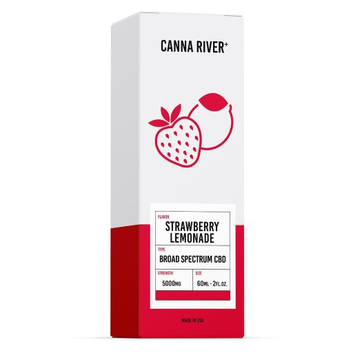 White and red box of Canna River strawberry lemonade Broad Spectrum CBD Oil, 5000mg.