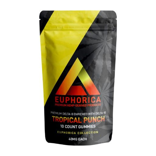 black and yellow bag of Delta effex tropical punch gummies - front of bag