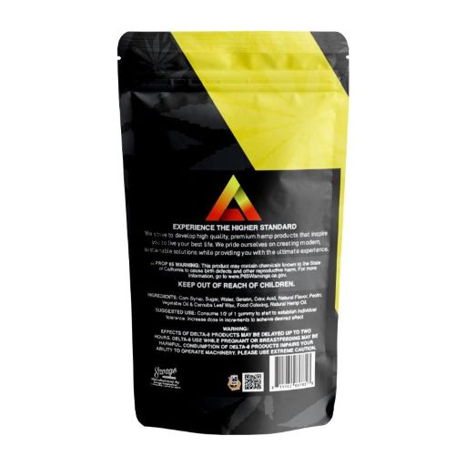 black and yellow bag of Delta effex tropical punch gummies - back of package showing ingredients and suggested use details